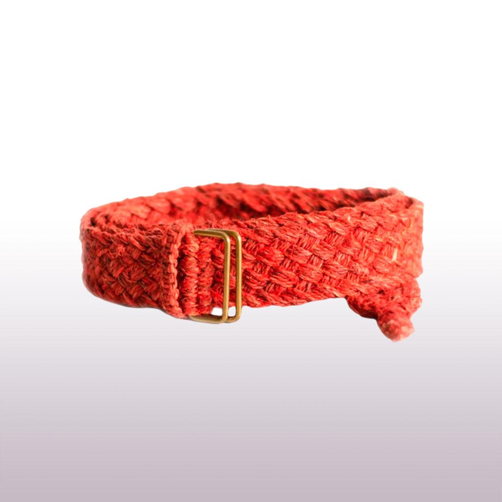 Ремень из конопли красный косичка