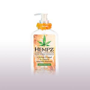 Молочко для тела увлажняющее с мерцающим эффектом Жёлтый Кварц от «Hempz»